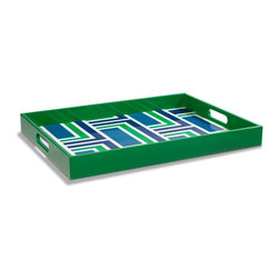 Graphic Lacquered Serving Tray, Navy/Green - A kelly green lacquer tray is a small but powerful way to introduce the color into your room.