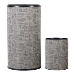 Lamont Home - Zoe Round Hamper/Wastebasket Set Silver/Black - Made from high quality PVC/Polyester fabric, these traditional styles have been updated in a wide range of patterns to match any decor. A vinyl lid with metal grommet completes the look for the hamper. A very durable product that adds style to any laundry room.