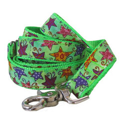 "chief furry officer - Designer Fabric Dog Leash - The Avenue Of The Stars, 1"" X 6' - cfo proudly presents ""the avenue of the stars"". This bright and happy pattern of multi colored stars on a green background makes a cfo feel like a ""star"". The fabric is 100% cotton."
