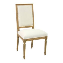 Kathy Kuo Home - Pair Louis French Country White Cotton Dining Chair - Dine like a king on this elegant, yet rustic dining chair in the Baroque French style. Chic white linen upholstery gives the spotlight to intricate detailing on the strong oak frame. Item sold as a pair.