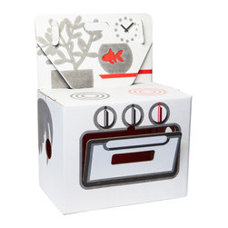OOTS! - Cocorico Stove Cardboard Toy - Encourage your child's interest in the culinary arts with this sturdy recycled cardboard stove. It's small enough to be set on a table, but large enough to inspire creativity in a big way. Best of all, it's whimsically decorated with a plant, a fishbowl and a clock in the background above the stovetop, plus a rollicking rooster on the back.