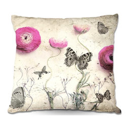 DiaNoche Designs - Pillow Linen - Monika Strigels Vintage Butterfly - Add a little texture and style to your decor with our Woven Linen throw pillows. The material has a smooth boxy weave and each pillow is machine loomed, then printed and sewn in the USA.  100% smooth poly with cushy supportive pillow insert with a hidden zip closure. Dye Sublimation printing adheres the ink to the material for long life and durability. Double Sided Print, machine wash upon arrival for maximum softness. Product may vary slightly from image.
