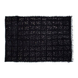 """5'6"""" x 9' Handira Wedding Blanket - A handmade Handira can be used as a bedcover or wall hanging. Known as Moroccan wedding blankets, handiras are woven out of sheep's wool, cotton and linen by Berber women in the Middle Atlas mountains of Morocco. Note: This is a new contemporary handira blanket."""