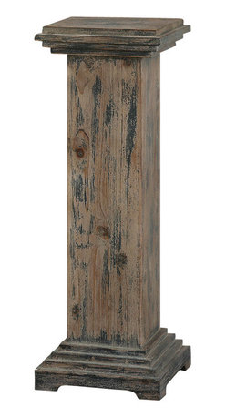 Uttermost - Uttermost Alejo Aged Wood Pedestal - Alejo Aged Wood Pedestal by Uttermost With Hints Of Prussian Blue Paint On Smooth, Faded Gray, Weathered Fir, This Solid Wooden Pedestal Makes A Sturdy And Attractive Place For A Statement Piece.