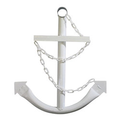 """Handcrafted Model Ships - Steel Navy Anchor with Chain 24"""" - White - This Classic Navy Boat Anchor with Chain 24"""" - White is the perfect nautical decor accessory for your living room, office, boat house, restaurant or any other location. This decorative ship anchor is made from high quality welded tubular steel and can be easily hung or leaned against a wall. Dozens of decorative boat anchors to choose from: available in 2,3 or 5 feet as well as in black, blue, gold, green, red, silver, white and yellow."""