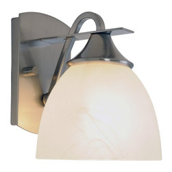 """AF Lighting - AF Lighting Durango Brushed Nickel Single Light Bathroom Vanity Wall Sconce - This is a brand new vanity light from AF Lighting (model # 617578). Brighten the décor of your bathroom with this one-light vanity fixture. It features a beautiful brushed nickel finish, a matching backplate, and an alabaster glass shade. Uses (1) 100-watt light incandescent medium base bulb (not included). Fixture measures 6-1/2"""" W by 8-1/4"""" H, projects 7-3/4"""". This light retails for $111.25."""