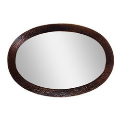 """The Copper Factory - The Copper Factory CF137AN Antique Copper  26 1/2 x 18 1/2"""" Solid - Solid Hammered Copper Framed Oval MirrorBring the beauty and durability of solid copper construction into your home with The Copper Factory s framed mirrors.  Take the same pride that the skilled artisans use when hammering a distinctive textured finish into each individual piece and utilize it to upgrade the look and feel of your home.  This oval framed mirror has a versatile style that suits design ranges from contemporary to a traditional farmhouse look, the copper frame is paired with a high quality glass mirror, it installs with ease, and will bring a lasting value to the look and feel of your home.Framed Mirror: A handcrafted quality mirror and frame that adds class and character to any hall or room, The Copper Factory s mirrors are handcrafted and constructed of 100% sand casted copper and high quality glass mirror that is suitable for a variety of décor and lifestyles.  Slight variations in size, texture and finish help accentuate the natural hand crafted solid metal finish that guarantees a unique look that truly is one of a kind.Features:High quality glass mirrorEasy to InstallStylish Oval design Specifications:Width: 26.5""""Material: CopperHeight: 18.5""""The Copper Factory is bringing the rich tradition of copper to homes across the country and beyond with a comprehensive line of hand crafted bathroom and kitchen sinks, bathtub, and other matching accessories. Starting with native copper, experienced craftsmen hand hammer or sand cast each piece to create durable, hygenic and above all, attractive product offering that suit a variety of lifestyles from traditional farmhouses to contemporary urban lofts. Welcome to the experience of The Copper Factory."""