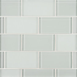 Lucian Glass Tile - Ann Sacks Tile & Stone - This is such a perfect color for tile in a bathroom - it's like the color of water in a tub, so soothing. I also love the mix of gloss and matte tile together.