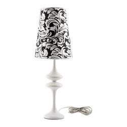 Modway - Illusion Table Lamp in White - Make your way to a sensory experience filled with cognitive delights. Illusion both stands out and blends with your surroundings in a surreptitious display of design and style. Crafted from a pearl black body made of iron, and a black and white floral damask patterned shade, Illusion will bring a sense of wonderment to your home.