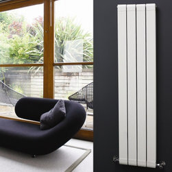 Hudson Reed - White Vertical Double Flat Panel Aluminum Radiator 63 x 12.5 & Valves - Four double vertical panels with stylish grooves, finished in superior white powder coat, make this radiator a striking design feature of any contemporary living space. Manufactured from lightweight aluminum for optimum heat output, the double vertical panels deliver an amazing 1520 Watts (5188 BTUs), enough to heat your room quickly and efficiently.Stylish and effective, this modern classic connects directly into your domestic central heating system by means of the radiator valves included and is supplied complete with a fixing pack. This radiator comes complete with a 5 YEAR WARRANTY. White Vertical Double Flat Panel Designer Radiator 63 x 12.5 FeaturesDimensions (H x W x D): 63 (1600mm) x 12.5 (318mm) x 3 (77mm) Output: 1520 Watts (5188 BTUs) Maximum Projection from Wall: 4.25 (108mm)Pipe centres with valves: 16.1 (410mm)Number of panels: 4 x 2Fixing Pack Included (see image above)Designed to be plumbed into your central heating systemSuitable for bathroom, cloakroom, kitchen etc.Weight: 20 lbs (9kg)Please note: Angled radiator valves included Please Note: Our radiators are designed for forced circulation closed loop systems only. They are not compatible with open loop, gravity hot water or steam systems.