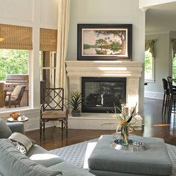 Woven Wood Blinds | Traditional & Open Concept| Blue | Traditional Fireplace - Complete your beach house style with window shades.