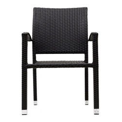 East End Imports - Outdoor Wicker Rattan Dining Chair Espresso - Relax in confidence, as you effortlessly unite diverse forces to take center stage. Wealth and success surround you and draw attention to greater heights. This outdoor wicker dining chair has a sturdy aluminum frame covered with an espresso rattan weave.