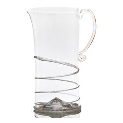 Amalia Pitcher - Large - A graceful handle lends a discreetly playful - but still flawlessly elegant - tone to the tall Amalia Pitcher, a clear glass pouring vessel intended to beautify the transitional table with its lofty, nearly-cylindrical body encircled by a snake of textured glass. This pitcher is superb for displaying the beautiful jumble of ingredients in a homemade sangria or for beautifully presenting iced tea.