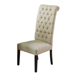 Great Deal Furniture - Cooper High Back Luxury Dining Chair - Move to the head of the table! Elevate the formality of your dining room table with the addition of this dining chair. The difference is in the details and this transitional style offers a rolled back, tufted beige linen upholstery and an elegant tall back silhouette.