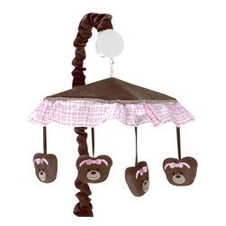 Sweet Jojo Designs - Teddy Bear Pink Crib Mobile by Sweet Jojo Designs - The Teddy Bear Pink Crib Mobile by Sweet Jojo Designs, along with the bedding accessories.