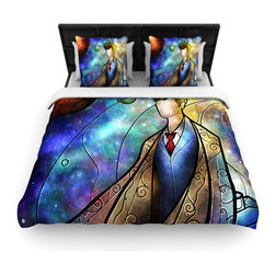 """Kess InHouse - Mandie Manzano """"The 10th"""" Space Blue Fleece Duvet Cover (King, 104"""" x 88"""") - You can curate your bedroom and turn your down comforter, UP! You're about to dream and WAKE in color with this uber stylish focal point of your bedroom with this duvet cover! Crafted at the click of your mouse, this duvet cover is not only personal and inspiring but super soft. Created out of microfiber material that is delectable, our duvets are ultra comfortable and beyond soft. Get up on the right side of the bed, or the left, this duvet cover will look good from every angle."""