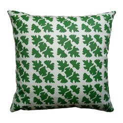 Balanced Design - Hand Printed Canvas Pillow - Shade, Leaf, 16 x 16 - The bold pattern of graphic leaves creates a modern and artful look in this throw pillow. You can feel good about investing in a design that has been hand-printed and sewn in the United States and is even ecofriendly. Since the insert is made of recycled plastic bottles and feathers, you're truly combining old and new for a fresh look at home.