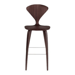 Nuevo Living - Satine Bar Stool, Dark Walnut - Satine bar stool features a wood base and a seat that is made of laminated plywood of graduated thickness from 15 to 5 layers at the perimeter of the shell. The molded plywood counter stools, bar stools, and chairs have been seen in some stylish settings. The Satine bar stool is a perfect blend of comfort, originality and style.