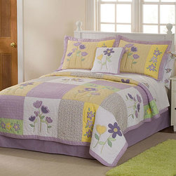 None - Patch of Flowers 3-piece Quilt Set - Imaginations will ignite with this violet, green, and gold patchwork three-piece quilt set. The set includes one quilt and two pillow shams featuring a floral pattern. Made of a cotton-polyester blend, this quilt is durable and easy to clean.