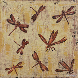 Ren-Wil - Ren-Wil OL726 Flight of the Dragonfly - Rich burnt orange dragonflies fly across the soft yellow and brown background in this unique painting.