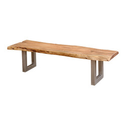 Sierra Living Concepts - Rustic and Contemporary Iron Base Organic Live Edge Bench - You look to Sierra Living Concepts for the cutting edge style you crave and this solid Indian Acacia wood bench delivers.