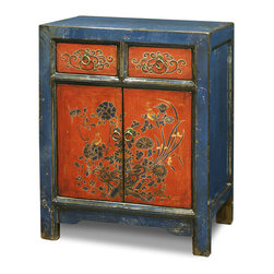 "China Furniture and Arts - Floral Motif Tibetan Cabinet - A timeless centerpiece, this chest eloquently manifests the expressive art style of the Tibetan people. It contains ample storage space with two drawers above and a roomy double door compartment  with a removable shelf below. The double door compartment measures 24""W x 14""D x 19.5""H, and the interior for each drawer is 8""W x 13""D x 3.75""H. Perfect for the foyer, living room or bedroom. Completely hand-constructed of Elmwood, it is a one-of-a-kind item that will last for generations to admire. Fully assembled."