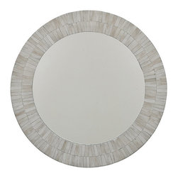 Frontgate - Round Bone Mirror - MDF and bone construction. Natural bone will display slight and expected color/design variations. Wipe clean with a soft cloth. Add a sleek and sophisticated accent to any space with the Round Bone Mirror. The eclectic frame fits in with all decorating styles from modern to coastal to traditional.  .  .  .
