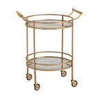 Kathy Kuo Home - Wade Contemporary Art Deco Gold Glass Round Bar Cart - Talk about deco style on wheels! This vintage inspired antiqued brass and glass round rolling bar cart has it in droves.  Whether used to serve martinis in the living room or to display perfume bottles in the salle du bain, if deco does it for you, this piece is a no-brainer.