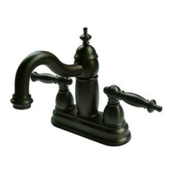 "Kingston Brass - Two Handle 4"" Centerset Lavatory Faucet with Brass Pop-up KB7905TL - This faucet embodies all the traditional qualities of classic refined elegance. Its unique steeple-shaped design and hook-shaped spout will give your bathroom that one-of-a-kind look. This faucet has a deck mount setup and features a 4"" centerset installation. The body is fabricated from solid brass for durability and long-lasting use. The color finish is made of oil-rubbed bronze for dark, vintage shade, as well as resisting scratches, corrosion and tarnishing. The spout has a reach of 5"" and a height of 6"". The handles allow for easy management of water volume and temperature. The faucet operates with a ceramic disc valve for droplet-free functionality with the water measured 2.2 GPM (8.3 LPM) and a 60 PSI maximum rate.  An integrated removable aerator is inserted beneath the spout's head piece for conserving water flow. A brass pop-up drain in a matching finish is included. All mounting hardware is included and standard US plumbing connections are used.  A 10-year limited warranty is provided to the original consumer.. Manufacturer: Kingston Brass. Model: KB7905TL. UPC: 663370036415. Product Name: Two Handle 4"" Centerset Lavatory Faucet with Brass Pop-up. Collection / Series: Templeton. Finish: Oil Rubbed Bronze. Theme: Classic. Material: Brass. Type: Faucet. Features: Drip-free washerless cartridge system"