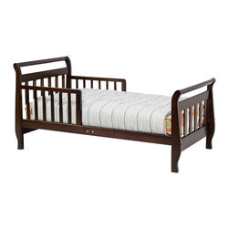 Da Vinci - DaVinci Sleigh Toddler Bed in Espresso Finish - Da Vinci - Toddler Beds - M2990Q - The Sleigh Toddler Bed by Da Vinci is the perfect bed for your little one who has outgrown the crib but is not ready for a full bed. The guard rails provide safety against falls so you and your toddler can sleep better. This bed is the perfect transition towards sleeping in a full bed. Proper first transition from the crib before moving to a twin or full size bed.Features: