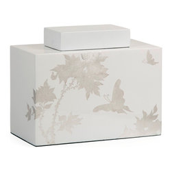 Leaf Design Meshaw Lidded Jar - Small - *A brilliant white lacquered finish with a delicate silver leaf floral pattern give the Mershaw lidded jar an elegant yet bold presence.