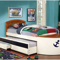 Furniture of America - Lets Sail Boat Inspired Twin Bed with 2 Drawer Trundle - White/Oak - IDF-7768 - Shop for Beds from Hayneedle.com! Well ahoy here - little mateys are going to love the Lets Sail Boat Inspired Twin Bed with Drawer Trundle - White/Oak. All ready to set sail this nautical bed is crafted of wood solids and veneers in a two-tone white and oak finish - made all the more sea-worthy with a navy blue anchor accent. Lift the lid on the front deck to reveal a handy storage area and if you ve got a guest aboard simply roll out the trundle on its handy casters. For even more deck storage two drawers are built into the trundle too. No box spring is required. About Furniture of AmericaBased in California Furniture of America has spent more than 20 years establishing itself as a premier provider of fine home furnishings to urban-minded shoppers. The people behind the brand are moved by passion hard work and persistence and their company's mission is to design the latest piece and offer high-quality furniture to trendy shoppers without compromising packaging integrity. Furniture of America offers unique coordinated and affordably designed furniture - not to mention exceptional style.