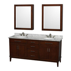 Wyndham Collection - 72 in. Eco-Friendly Double Sink Bathroom Vanity Set - Includes white Carrera marble countertop with backsplash, two undermount oval porcelain sinks and two medicine cabinet mirrors. Faucets not included. Transitional style. 8 in. widespread three hole faucet mount. Four functional doors. Three functional deep doweled drawers. Single faucet hole mount. 12-stage wood preparation, sanding, painting and hand finishing process. Highly water-resistant low V.O.C. sealed finish. Plenty of storage and counter space. Practical floor standing design. Fully extending under-mount soft-close drawer slides. Concealed soft-close door hinges. Metal exterior hardware in brushed chrome. Engineered to prevent warping and last lifetime. Made from zero emissions solid birch hardwood. Dark chestnut finish. Medicine cabinet mirror: 28 in. W x 6.25 in. D x 36 in. H. Countertop: 72 in. W x 22 in. D x 0.75 in. H. Backsplash: 72 in. W x 0.75 in. D x 3.25 in. H. Vanity: 70.75 in. W x 21.5 in. D x 34.25 in. H. Vanity with countertop: 72 in. W x 22 in. D x 35 in. H. Warranty. Care Instructions. Vanity Installation Instructions. Cabinet Installation Instructions. Counter Handling InstructionsBring feeling of texture and depth to your bath with the gorgeous Hatton vanity series. Contemporary classic for the most discerning of customers. The Wyndham Collection is entirely unique and innovative bath line. Sure to inspire imitators, the original Wyndham Collection sets new standards for design and construction.