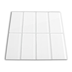 CNK Tile - White Glass Subway Tile, Sqft - The White Subway Tile is made from the strongest stain-resistant crystal clear glass. These tiles have a 8mm thickness that increases their durability and the depth of their color making them truly beautiful subway tiles. These subway tiles can be used for commercial or residential construction in either a wet or dry environment.