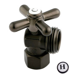 Kingston Brass - Angle Stop with 1/2in. IPS x 3/4in. Hose Thread - The 1/4-turn angle stop valve features an easy-to-handle cross lever which controls the movement of water through and from plumbing fixtures. The valve is made of solid brass built for durability and dependability and also comes in a variety of finishes to better coordinate your kitchen/bathroom.