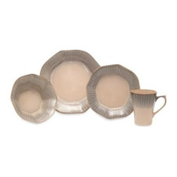 Baum - Baum Neoboroqe 16-Piece Dinnerware Set - Create perfect place settings with this modern take on a classic dinnerware shape. The hand-painted lines on the octagonal rim highlight the slightly fluted shaped of this group, while the reactive glaze and finish give it an updated look and feel.