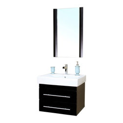 Bellaterra Home - 24.25 in Single wall mount style sink vanity-wood-black - There is always great design in simplicity. Perfect for a small space, this set of modern wall mount style bathroom vanity features oversized ceramic sinks.