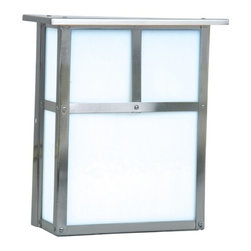 Craftmade Lighting - Small Mission Outdoor Flush Wall Light in Stainless Steel Finish - Z1840-56 - Mission / Mackintosh stainless steel 1-light outdoor wall light with frosted white glass. Takes (1) 60-watt incandescent A19 bulb(s). Bulb(s) sold separately. ETL listed. Wet location rated.