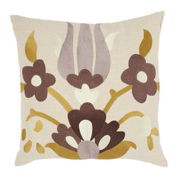 Emma at Home - Lycia Pillow, Buttered Toast - The collage effect of these flowers turns this pillow into a work of textile art. It's modern and cool, and would be the perfect accent for a sleek, sophisticated sofa.
