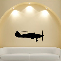 None - Vintage Aircraft Silhouette Vinyl Sticker Wall Decal - The sky's the limit with this great vintage aircraft wall decal. Innovative and easy,this vinyl sticker is a great way to express your decorating style and personal interests.