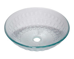 Renovators Supply - Glass Sinks Frosted Glass Diamond Glass Vessel Sink Round - Glass Vessel Sinks: Textured Frosted Tempered glass sinks are five times stronger than glass, 1/2 inch thick, withstand up to 350 F degrees,  can resist moderate to high degrees of impact & are stain��_��__��_��__��_��__proof. Ready to install this package includes FREE 100% solid brass chrome-plated pop-up drain, FREE machined 100% solid brass chrome-plated mounting ring & silicone gasket. Measures 16 1/2 in. dia. x 6 in. deep x 1/2 in. thick.
