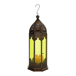 Benzara - Swanky 16in. Traditional Metal Glass Lantern in Rustic Brown - Your modern decor can be transformed into a traditional setting with the addition of this metal glass lantern. The lantern has showcases fine attention to details by Indian artisan and is available in rustic brown. The glass around this metal glass lantern has traditional designs and patterns making it excellent addition to your living room or your hallways. This decorative accessory can be placed on a shelf in your living room or hung in your bedroom. The lantern has a small opening with a mini-latch which can be opened to place a candle. If your office has a traditional design, this might be a good addition to add to the look and feel of the office. The manufacture ensures long-lasting performance, making this metal glass lantern an excellent addition to your home or office. It comes with a dimension of 16 in.  H x 6 in.  W x 6 in.  D.