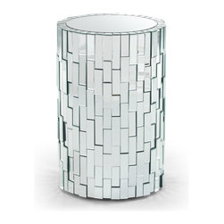 Zuri Furniture - Circa 31-inch Mosaic Mirrored Pedestal - With its art deco look and feel, our Circa contemporary pedestal table adds an air of class and sophistication to any living space. The cylindrical shape creates brilliant contour, showing off its rich reflections. Completely wrapped by mosaic mirrored glass, the Circa pedestal can be styled as a show-stopping piece on its own, or used as an accent piece to existing rich and tasteful decor.