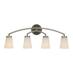 Murray Feiss - Murray Feiss Tribeca Bathroom Lighting Fixture in Brushed Steel - Shown in picture: Tribeca Vanity Strip in Brushed Steel finish with White Opal'Glass