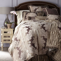 Dian Austin Couture Home - Dian Austin Couture Home Queen Duvet Cover - Vienna bed linens begin with European damask woven with chenille accents and are enriched further with crushed silk and a host of opulent trims. In warm, sophisticated shades of stone, platinum, and graphite. From Dian Austin Couture Home®. Dama...