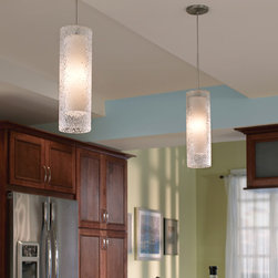 Rock Candy Cylinder Pendant Lamp by LBL - LBL Lighting Rock Candy Cylinder Line-Voltage Pendant Lamp features cylinder of mouth-blown transparent glass rolled in clear crystal frit and flash heated to create this unique texture. Inner opal glass diffuser adds depth to the pendant.