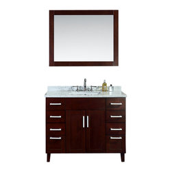 "Ariel - Frampton 42"" Single-Sink Bathroom Vanity Set - A classic design inspired by Shaker furniture, this 42"" vanity from our Frampton collection features eight storage drawers in addition to the two main doors.  The textured walnut finish is coated with polyurethane to ensure durability for many years to come."