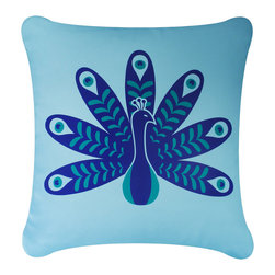 Wabisabi Green - Peacock Eco Pillow, Teal Blue/Ocean Blue, With Insert - - Natural cotton twill.