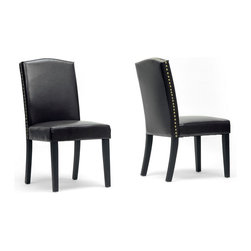 """Wholesale Interiors - Trullinger Dark Brown Modern Dining Chairs, Set of 2 - Trullinger is a handsome classic prevalent with timeless charm. This designer dining chair is made with a wooden frame, foam cushioning, and dark brown faux leather upholstery. Chinese-made, the Trullinger Dining Chair is finished with antiqued brass nail head trim along the edges as well as black lacquer legs with non-marking feet. Keep stains and spills at bay by wiping this chair clean easily with no more than a damp cloth. The Trullinger Modern Dining Chair is also offered in beige (sold separately). Assembly is required. Dimension: 19.12""""W x 25""""D x 38.25""""H, seat dimension: 19.12""""W x 18.37""""D x 19.12""""H."""