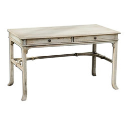 Uttermost - Matthew Williams Bridgely Aged Writing Desk - Plantation-grown mango wood makes up the solid, carved and dovetail construction with deep-grained mindi veneer in an aged white finish with antique brass drawer pulls.